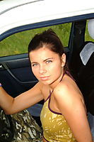 Topless Brunette Military Teen In A Car - Picture 1